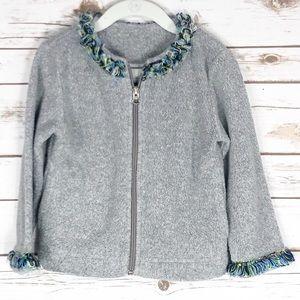 Garnet Hill Grey Fleece Sweater Rainbow Fringe